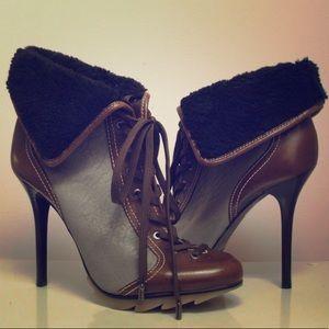 BCBG MAX AZRIA Shearling-trim Leather Bootie